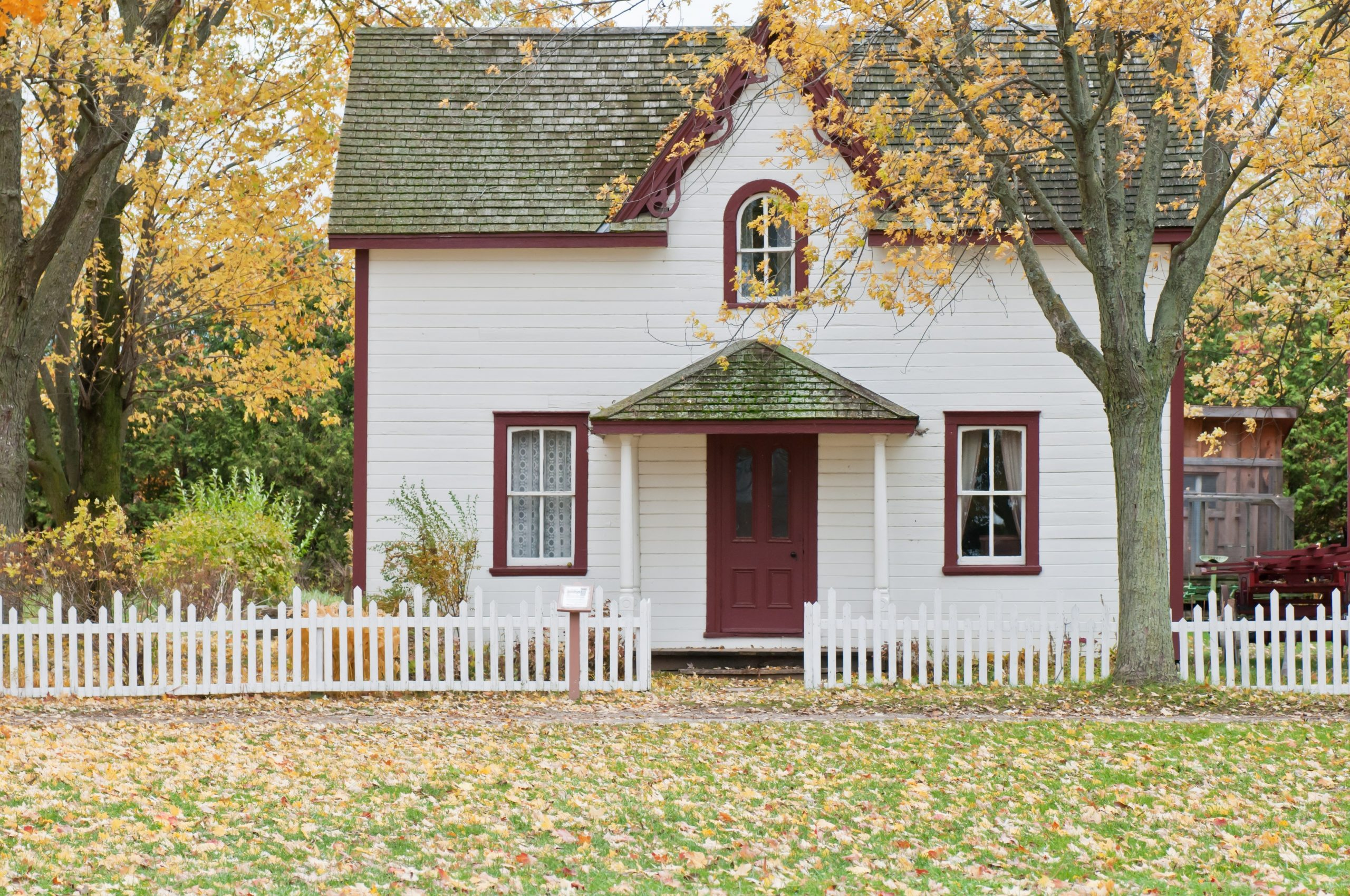 Home exterior in the fall
